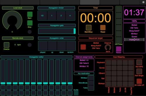 TouchOSC control pane;